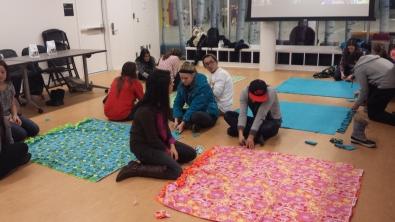 Winter Social making blankets!