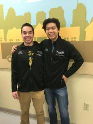 Two of our board members, Alex an Jun, volunteering at Second Harvest Heartland